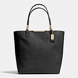 COACH MADISON  SAFFIANO LEATHER NORTH/SOUTH TOTE - LIGHT GOLD/BLACK - F28743