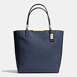 COACH MADISON  SAFFIANO LEATHER NORTH/SOUTH TOTE - LIGHT GOLD/NAVY - F28743