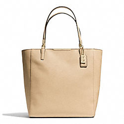 COACH MADISON  SAFFIANO LEATHER NORTH/SOUTH TOTE - LIGHT GOLD/TAN - F28743