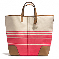 HADLEY VARIEGATED STRIPED LARGE DUFFLE - SILVER/CORAL - COACH F28806