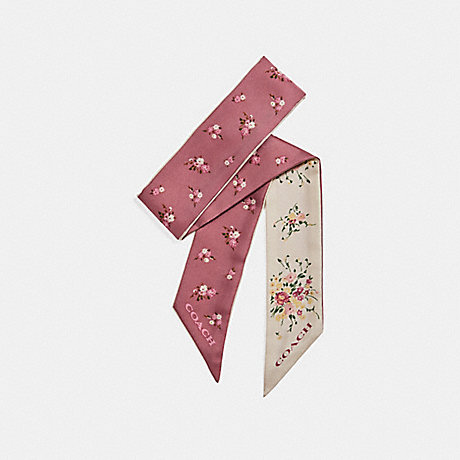 COACH FLORAL AND DAISY BUNDLE PRINT SKINNY SCARF - Chalk/Vintage Pink - f28810