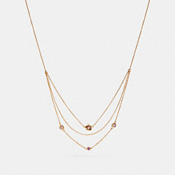 DEMI-FINE SUNBURST LAYERED CHAIN NECKLACE - AMETHYST/GOLD - COACH F28834