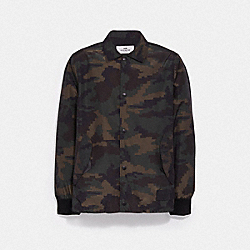 NYLON COACH JACKET - GREEN CAMO/BLACK - COACH F28843
