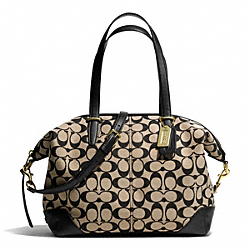 COACH BLEECKER PRINTED SIGNATURE COOPER SATCHEL - BRASS/KHAKI BLACK/BLACK - F28883