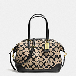 COACH BLEECKER PRINTED SIGNATURE SMALL COOPER SATCHEL - BRASS/KHAKI BLACK/BLACK - F28884
