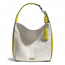 AVERY CANVAS HOBO - SILVER/NATURAL/CHARTREUSE - COACH F28911