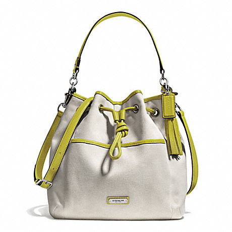 COACH AVERY CANVAS DRAWSTRING - SILVER/NATURAL/CHARTREUSE - f28913