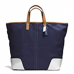 HADLEY LEATHER LARGE DUFFLE - SILVER/MIDNIGHT - COACH F28915