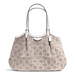 COACH SIGNATURE STRIPE ROPE PRINT SHOULDER BAG - SILVER/NATURAL - F28926