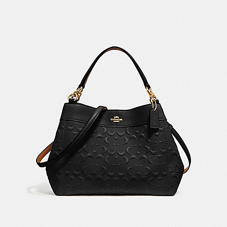 COACH SMALL LEXY SHOULDER BAG IN SIGNATURE LEATHER - BLACK/light gold - f28934