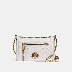 COACH LEX SMALL FLAP CROSSBODY IN SIGNATURE LEATHER - CHALK/LIGHT GOLD - F28935