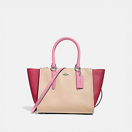 COACH f28943 CROSBY CARRYALL IN COLORBLOCK SILVER/PINK MULTI
