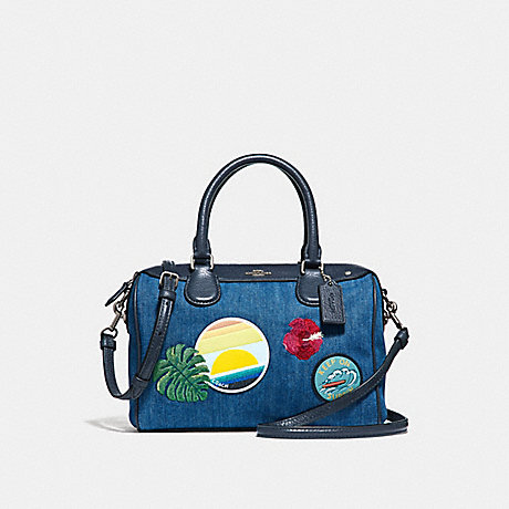 COACH MINI BENNETT SATCHEL WITH BLUE HAWAII PATCHES - SVM64 - f28957