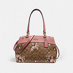 BROOKE CARRYALL IN SIGNATURE CANVAS WITH FLORAL BUNDLE PRINT - KHAKI/MULTI/IMITATION GOLD - COACH F28963