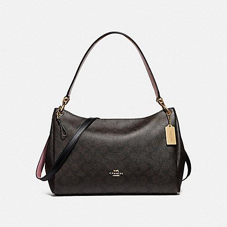 COACH MIA SHOULDER BAG IN SIGNATURE CANVAS - BROWN/BLACK/LIGHT GOLD - F28967