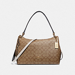 MIA SHOULDER BAG IN SIGNATURE CANVAS - KHAKI/CHALK/GOLD - COACH F28967