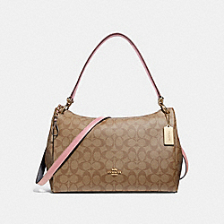 MIA SHOULDER BAG IN SIGNATURE CANVAS - KHAKI/PETAL/SILVER - COACH F28967