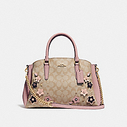 SAGE CARRYALL IN SIGNATURE CANVAS WITH FLORAL APPLIQUE - LIGHT KHAKI/MULTI/IMITATION GOLD - COACH F28970