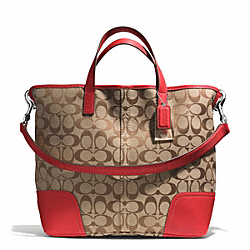 HADLEY SIGNATURE DUFFLE - SILVER/KHAKI/BRIGHT RED - COACH F28981