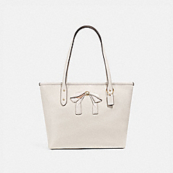 MINI CITY ZIP TOTE WITH BOW - CHALK/IMITATION GOLD - COACH F28988