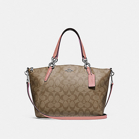 COACH SMALL KELSEY SATCHEL IN SIGNATURE CANVAS - KHAKI/PETAL/SILVER - F28989