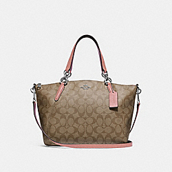SMALL KELSEY SATCHEL IN SIGNATURE CANVAS - KHAKI/PETAL/SILVER - COACH F28989