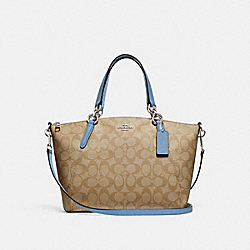 SMALL KELSEY SATCHEL IN SIGNATURE CANVAS - LT KHAKI/CORNFLOWER/SILVER - COACH F28989