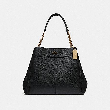 COACH LEXY CHAIN SHOULDER BAG - BLACK/LIGHT GOLD - F28998