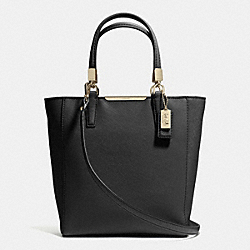 COACH MADISON SAFFIANO LEATHER MINI NORTH/SOUTH TOTE - LIGHT GOLD/BLACK - F29001
