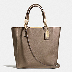COACH MADISON  SAFFIANO LEATHER MINI NORTH/SOUTH TOTE - LIGHT GOLD/BRONZE - F29001