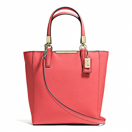 COACH MADISON MINI NORTH/SOUTH TOTE IN SAFFIANO LEATHER -  LIGHT GOLD/LOVE RED - f29001