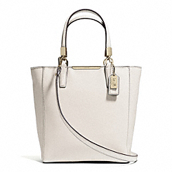 COACH MADISON SAFFIANO LEATHER MINI NORTH/SOUTH TOTE - LIGHT GOLD/PARCHMENT - F29001