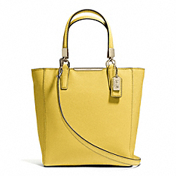 MADISON  SAFFIANO LEATHER MINI NORTH/SOUTH TOTE - f29001 - LIGHT GOLD/SAFFRON