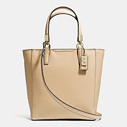 COACH MADISON SAFFIANO LEATHER MINI NORTH/SOUTH TOTE - LIGHT GOLD/TAN - F29001