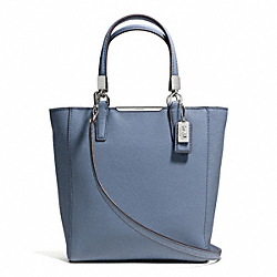 MADISON  SAFFIANO LEATHER MINI NORTH/SOUTH TOTE - f29001 - SILVER/CORNFLOWER