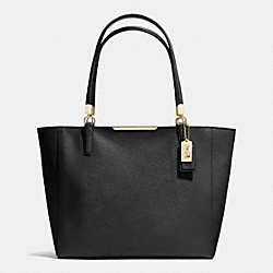 COACH MADISON SAFFIANO LEATHER EAST/WEST TOTE - LIGHT GOLD/BLACK - F29002
