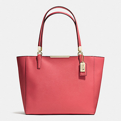COACH MADISON EAST/WEST TOTE IN SAFFIANO LEATHER -  LIGHT GOLD/LOGANBERRY - f29002