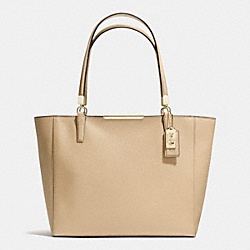 COACH MADISON SAFFIANO LEATHER EAST/WEST TOTE - LIGHT GOLD/TAN - F29002