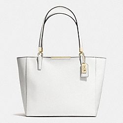MADISON SAFFIANO LEATHER EAST/WEST TOTE - f29002 - LIGHT GOLD/WHITE