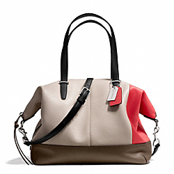 BLEECKER COOPER SATCHEL IN COLORBLOCK LEATHER - SILVER/NATURAL/LOVE RED - COACH F29022