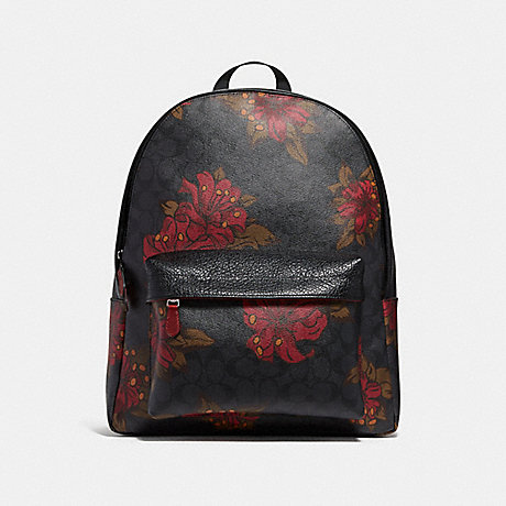 COACH CHARLES BACKPACK IN SIGNATURE CANVAS WITH HAWAIIAN LILY PRINT - QBNI6 - f29025