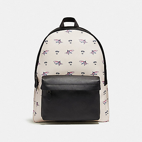 COACH CHARLES BACKPACK WITH SHARK PALM TREE PRINT - BLACK ANTIQUE NICKEL/CHALK MULTI - f29031
