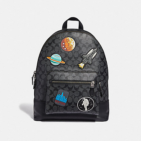COACH WEST BACKPACK IN SIGNATURE CANVAS WITH SPACE PATCHES - CHARCOAL/BLACK/BLACK ANTIQUE NICKEL - f29040