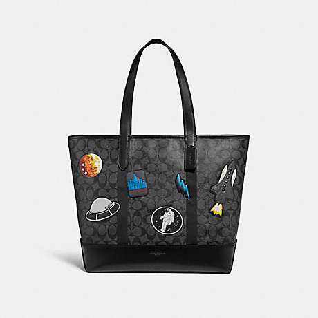 COACH f29045 WEST TOTE IN SIGNATURE CANVAS WITH SPACE PATCHES CHARCOAL/BLACK/BLACK ANTIQUE NICKEL