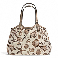 COACH SIGNATURE STRIPE SHELL PRINT SHOULDER BAG - SILVER/NATURAL MULTI - F29063