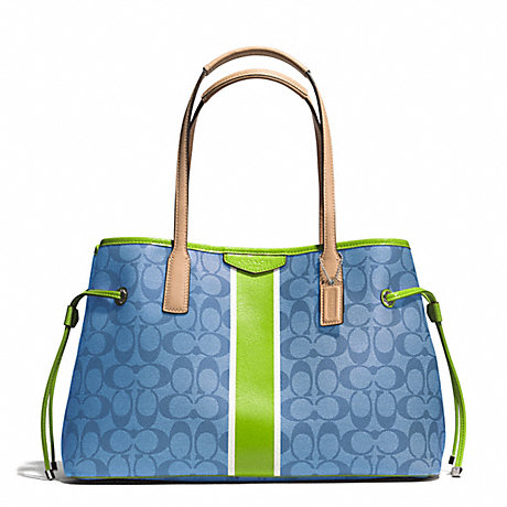 COACH f29064 SIGNATURE STRIPE DRAWSTRING CARRYALL SILVERBLUEGREEN