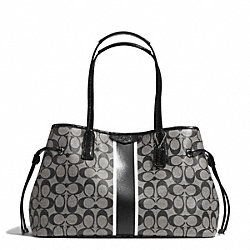 COACH SIGNATURE STRIPE DRAWSTRING CARRYALL - SILVER/BLACK/WHITE/BLACK - F29064