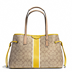 COACH SIGNATURE STRIPE DRAWSTRING CARRYALL - SILVER/LIGHT KHAKI/YELLOW - F29064