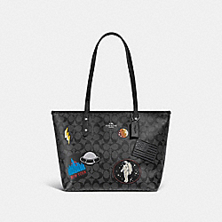 CITY ZIP TOTE IN SIGNATURE CANVAS WITH SPACE PATCHES - BLACK SMOKE/BLACK/SILVER - COACH F29126