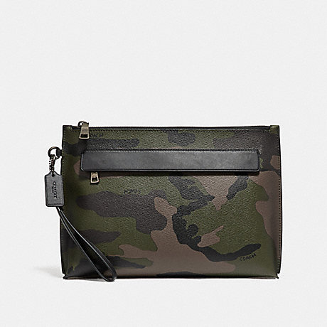 COACH CARRYALL POUCH WITH CAMO PRINT - DARK GREEN - f29127